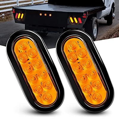"Nilight 6"" Oval Amber LED Trailer Tail Lights 2PCS 10 LED w/Flush Mount Grommets Plugs IP67 Waterproof Turn Signals Trailer Lights for RV Truck Jeep, 2 Years Warranty: Automotive"