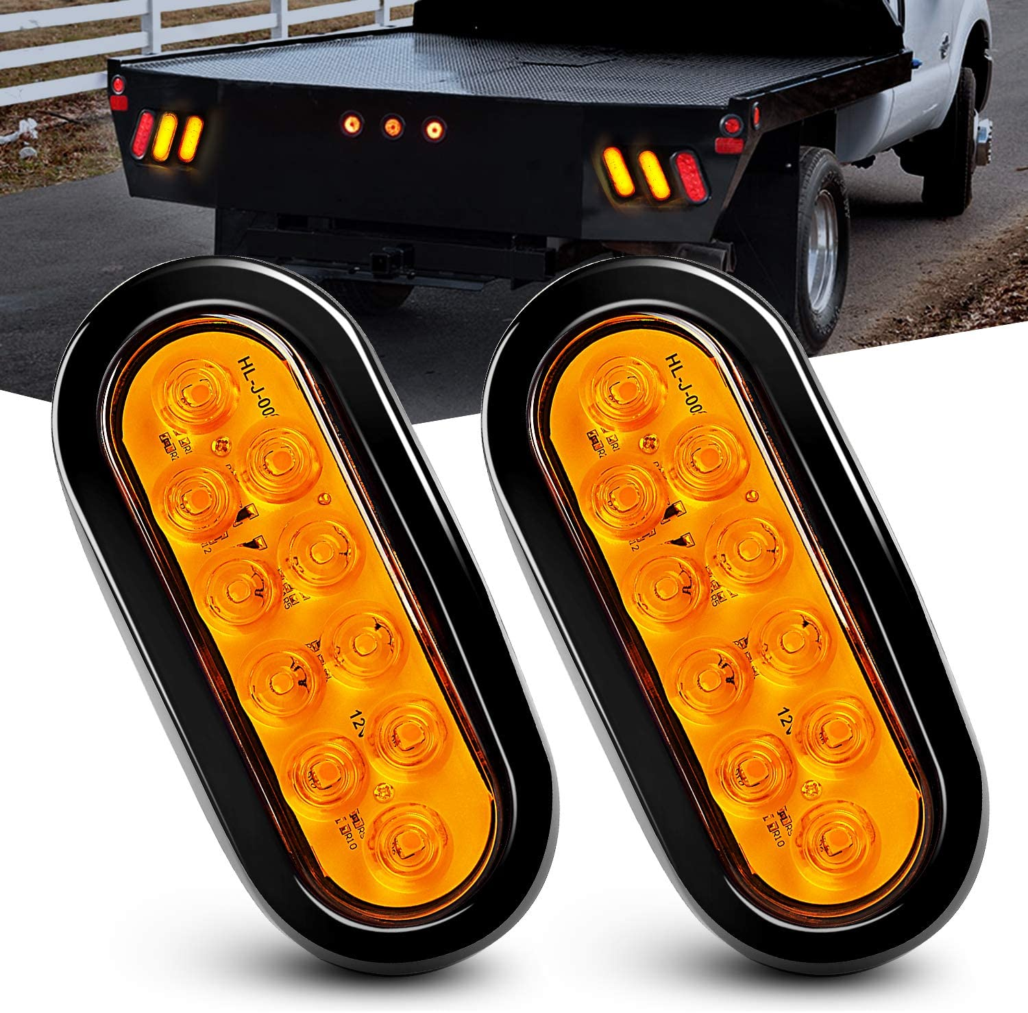Nilight - TL-08 6 Inch Oval Amber LED Trailer Tail Lights 2PCS 10 LED W/Flush Mount Grommets Plugs IP67 Waterproof Turn Signals Trailer Lights for RV Truck Jeep, 2 Years Warranty