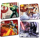 Vandor 99085 Star Wars 4 pc Wood Coaster Set, Multicolor