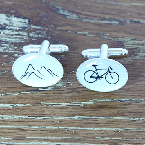 Silver Toned Textured Bicycle Cufflinks