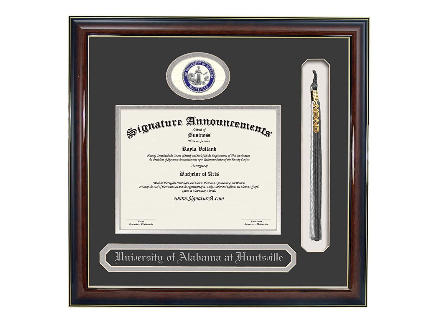 Signature Announcements University-of-Alabama-in-Huntsville Undergraduate Name /& Tassel Graduation Diploma Frame 16 x 16 Gloss Mahogany with Gold Accent Sculpted Foil Seal