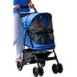 Pet Gear No-Zip Happy Trails Pet Stroller for Cats/Dogs, Zipperless Entry, Easy Fold with Removable Liner, Storage Basket + C