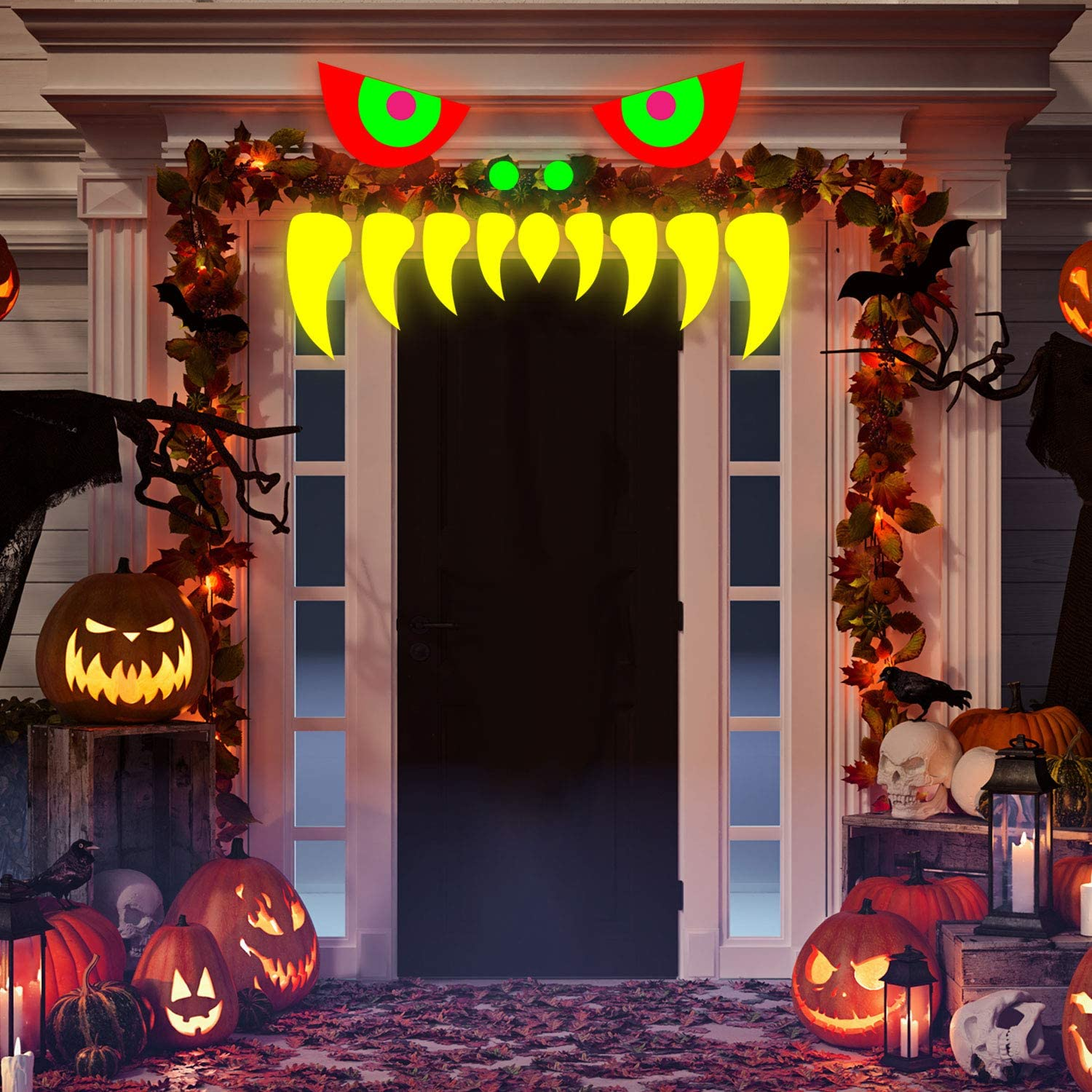 WILLBOND Halloween Monster Face Decorations Outdoor Garage Door Archway Car Party Decor with Eyes Teeth Cutouts for Halloween Party Wedding Decoration Neon Glow Black Light Reactive Party