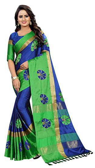 150ee560ebf1b Shreeji Designer Cotton Silk Ari Embroidery Work Fancy Saree With Blouse  Piece SD-2255 (
