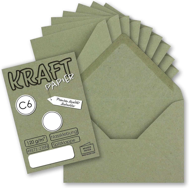 25x Algen-Gr/ün DIN C6 Briefumschlag Spitzklappe ohne Fenster 114x162mm120g Keaykolour Sequoia elegante Briefh/ülle aus Recyclingpapier hochwertig bunt Umschlag edel C6 f/ür Hochzeits-Einladungen