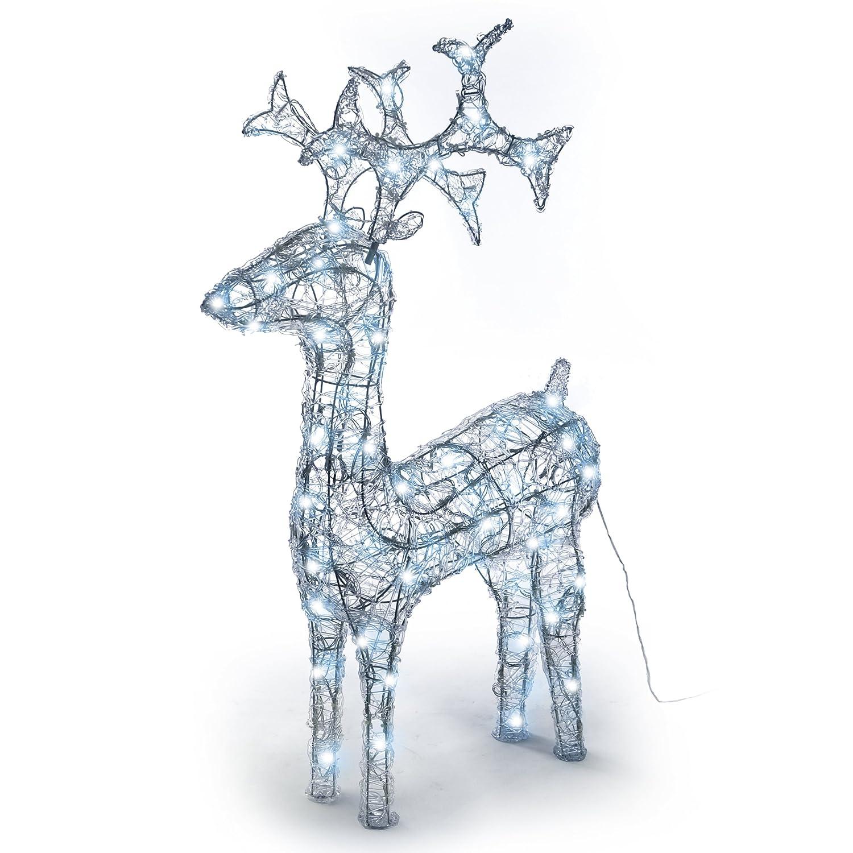 Nipach GmbH Rentier beleuchtet Acryl 120 LED weiß Deko-Figur 100 cm Trafo Leucht-Elch Weihnachtsdeko Weihnachtsbeleuchtung Außen-Deko Fest Xmas