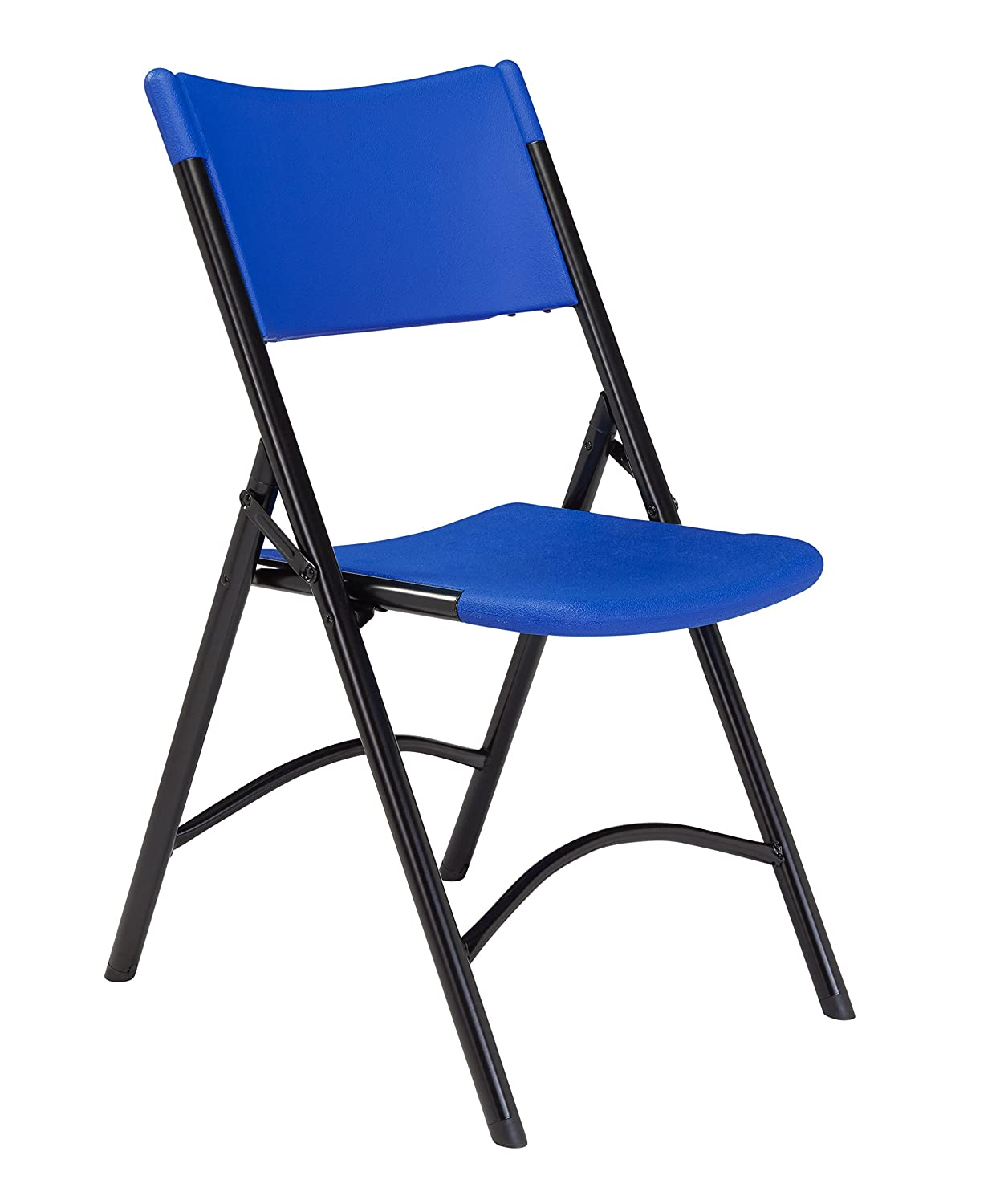 National Public Seating 600 Series Steel Frame Blow Molded Resin Plastic Seat and Back Folding Chair with Double Brace, 300 lbs Capacity, Red/Black (Carton of 4) 640