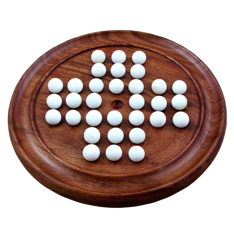 RoyaltyRoute handmade in legno massello solitario gioco da tavolo con marmi giochi di viaggio 12 pollici