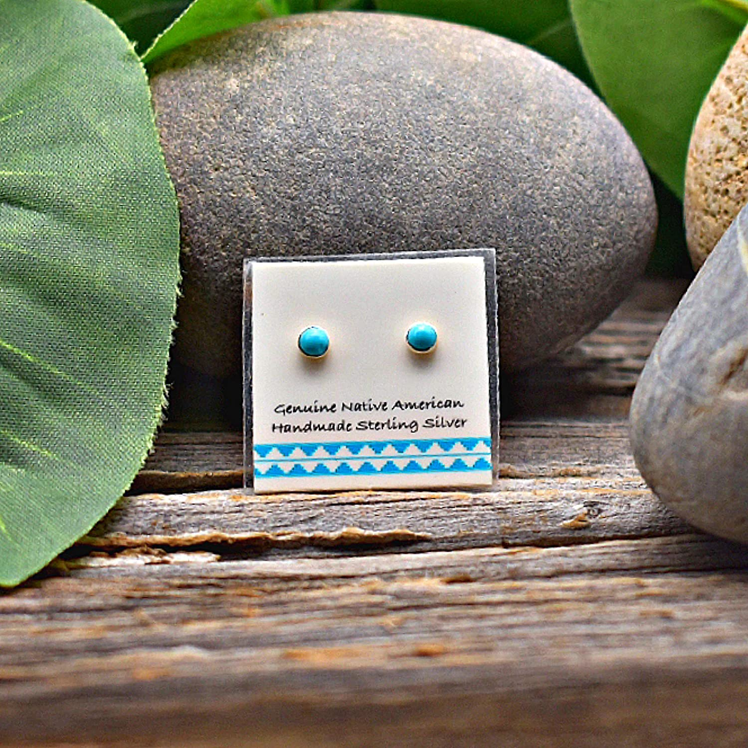 3Mm Sleeping Beauty Turquoise Stud Earrings bei 925 Sterling Silver, Authentic Native American Handmade bei die Usa, Minimalist Style, Nickle Free