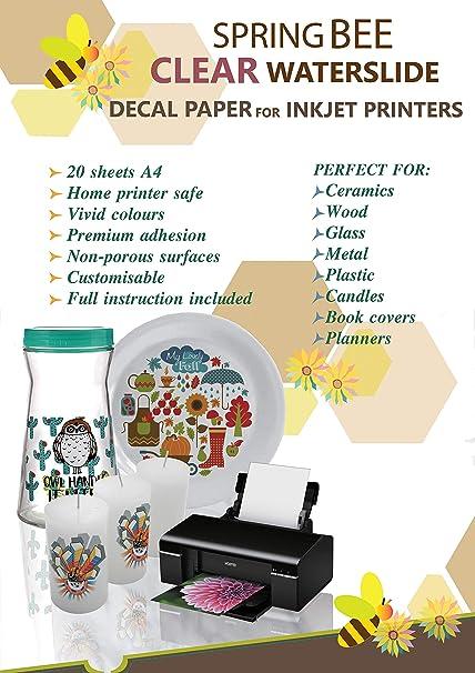 Calcomanía de papel transparente para impresoras de ...