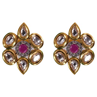 f1440a0c7 Buy Ratnavali Jewels American Diamond CZ Gold Plated Kundan Round Red Ruby  Stud Tops Earring For Girls/Women (RV1598R) Online at Low Prices in India  ...