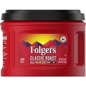 Folgers Classic Roast Medium Roast Ground Coffee, 22.6 Ounces (Pack of 3)