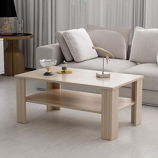 Couchtisch Beistelltisch Eiche San Remo hell Wohnzimmer Sofa Tisch Ablage 110 cm