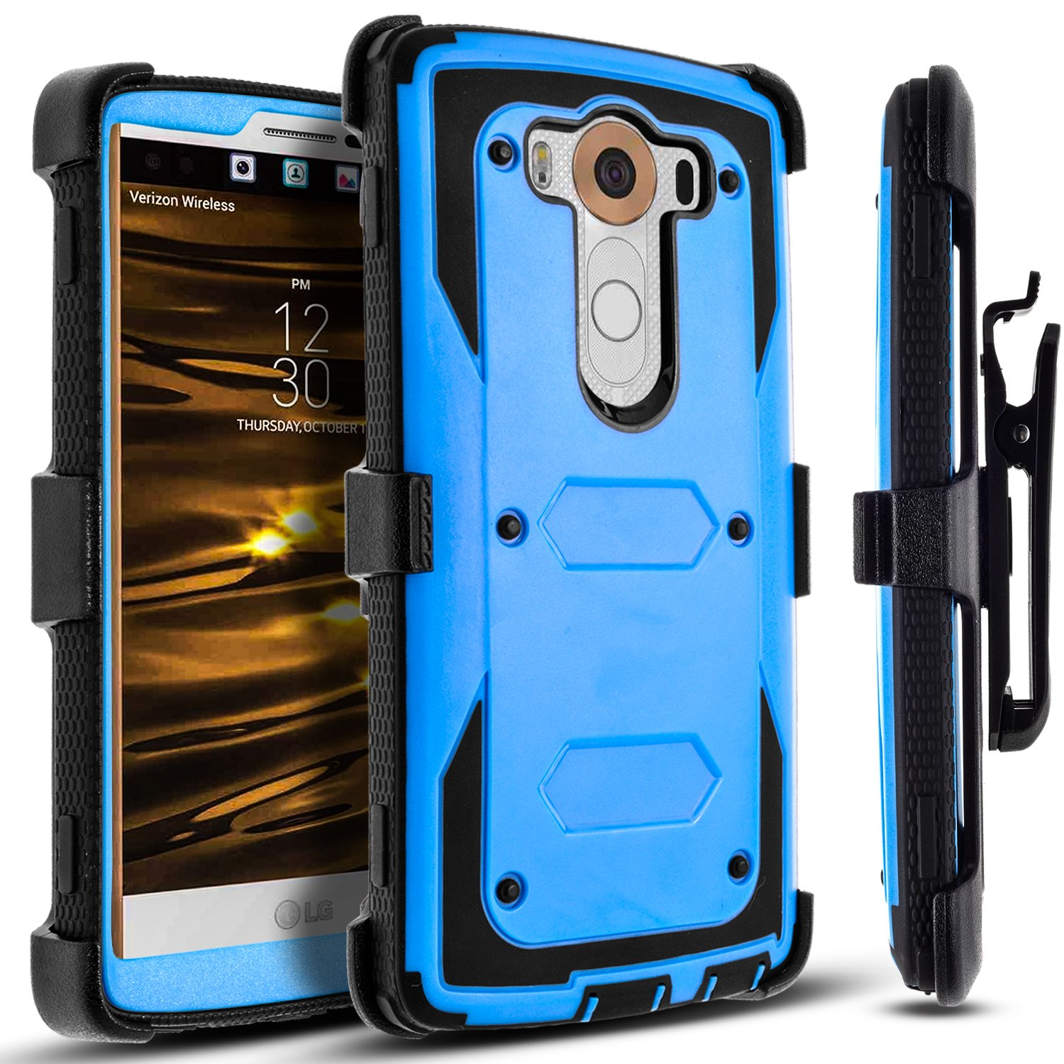 cheap for discount fb49a 2ef66 LG V10 Case, [SUPER GUARD] Dual Layer Hybrid Protective Cover With  [Built-in Screen Protector] Holster Locking Belt Clip+Circle(TM) Stylus  Touch ...