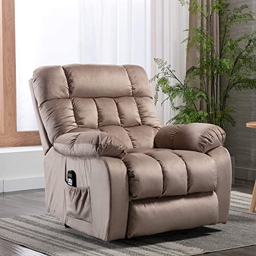Electric Lift Recliner with Heat Therapy and Massage, Suitable for The Elderly, Heavy Recliner, with Modern Padded arms and Back, Mocha