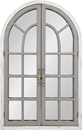 Kate and Laurel Boldmere Large Traditional Wood Windowpane Arch Mirror, 28×44, Gray and White