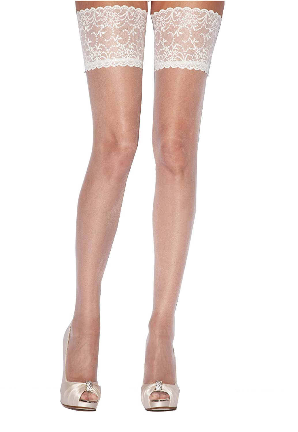 f387151d6ac Charnos Bridal Lace Top Hold Ups Ivory Large at Amazon Women s Clothing  store