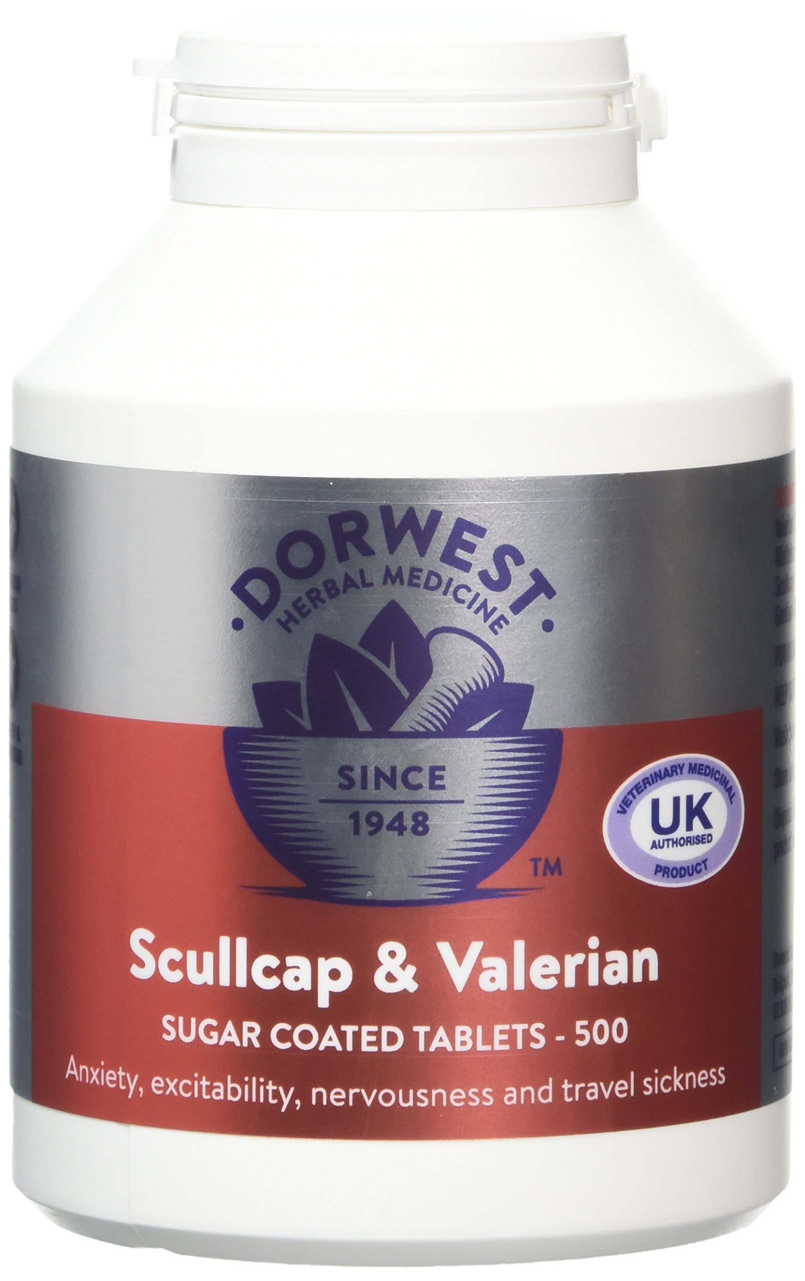 Dorwest Herbs Scullcap And Valerian Tablets For Dogs And Cats 500 Tablets