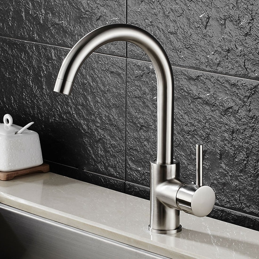 FLG Modern Single Handle Hot and Cold Water Kitchen Bar/Prep Sink ...