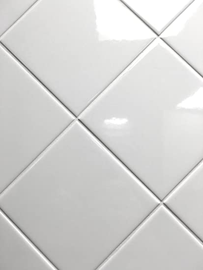 X White Glossy Finish Ceramic Subway Tile Shower Walls - 4x4 grey ceramic tile