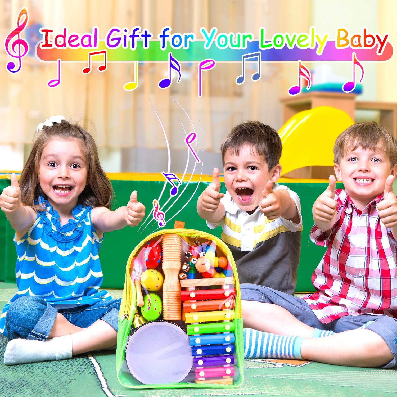 TUPARKA 26 Unids Beb/é Instrumentos Musicales Set Instrumento Juguete Xil/ófono de Madera Glockenspiel Juguetes para Ni/ños Juguetes Educativos de Regalo Temprano Regalo con Mochila
