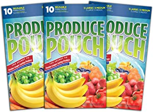 Produce Pouch-30 Bags | Reusable Produce Bags | Keeps Produce Fresher Longer | Extend The Life of Fruits & Vegetables | Green Bags (Pack of 30 Bags)