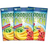 Produce Pouch-Keeps Produce Fresher Longer, Produce Keepers are Reusable Green Bags for Fruits and Veggies and are Great Banana Bags 3 Packs (30 Bags)