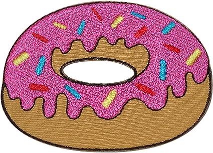 Insignia bordada de rosquilla rosada para planchar o coser en la camisa del parche de los pantalones vaqueros del bordado del donut