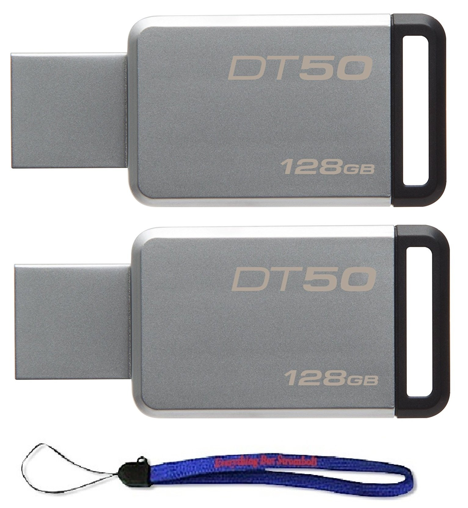 Kingston (TM) Digital 128GB (2 Pack) USB 3.0 Data Traveler 50 Flash Drive DT50, 110MB/s Read, 15MB/s Write Speed with Everything But Stromboli (TM) Lanyard (DT50/128GB)