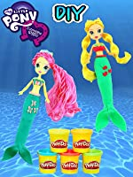 My Little Pony MERMAID Equestria Girls Fluttershy and Applejack Play Doh Dress Up!