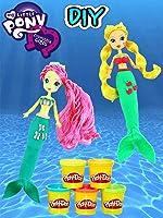 My Little Pony MERMAID Equestria Girls Fluttershy and Applejack Play Doh Dress Up! [OV]