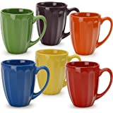 signature housewares fluted mugs assorted set of 6 multicolor - Colorful Mugs