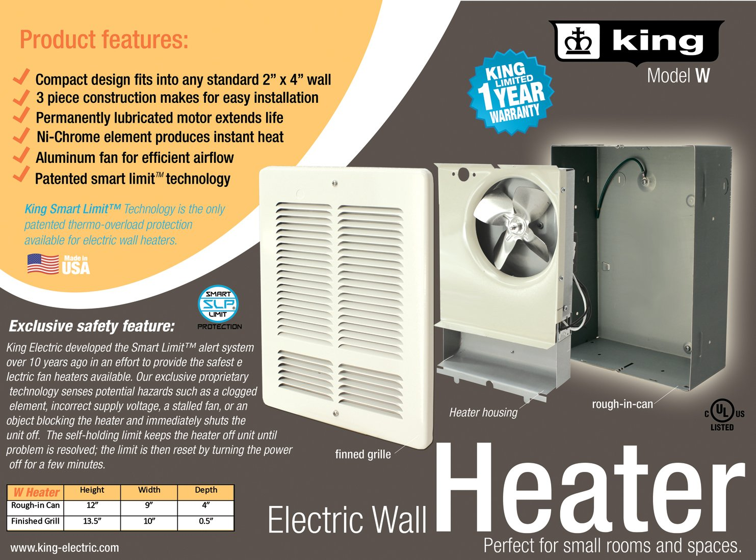 King Electric W2420-W King W2420 240-Volt 2000-Watt Electric Wall Heater, Bright White by King Electric (Image #3)