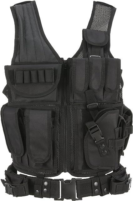 SWAT CS Airsoft Game Law Enforcement Tactical Military VEST Combat Pistol-Black