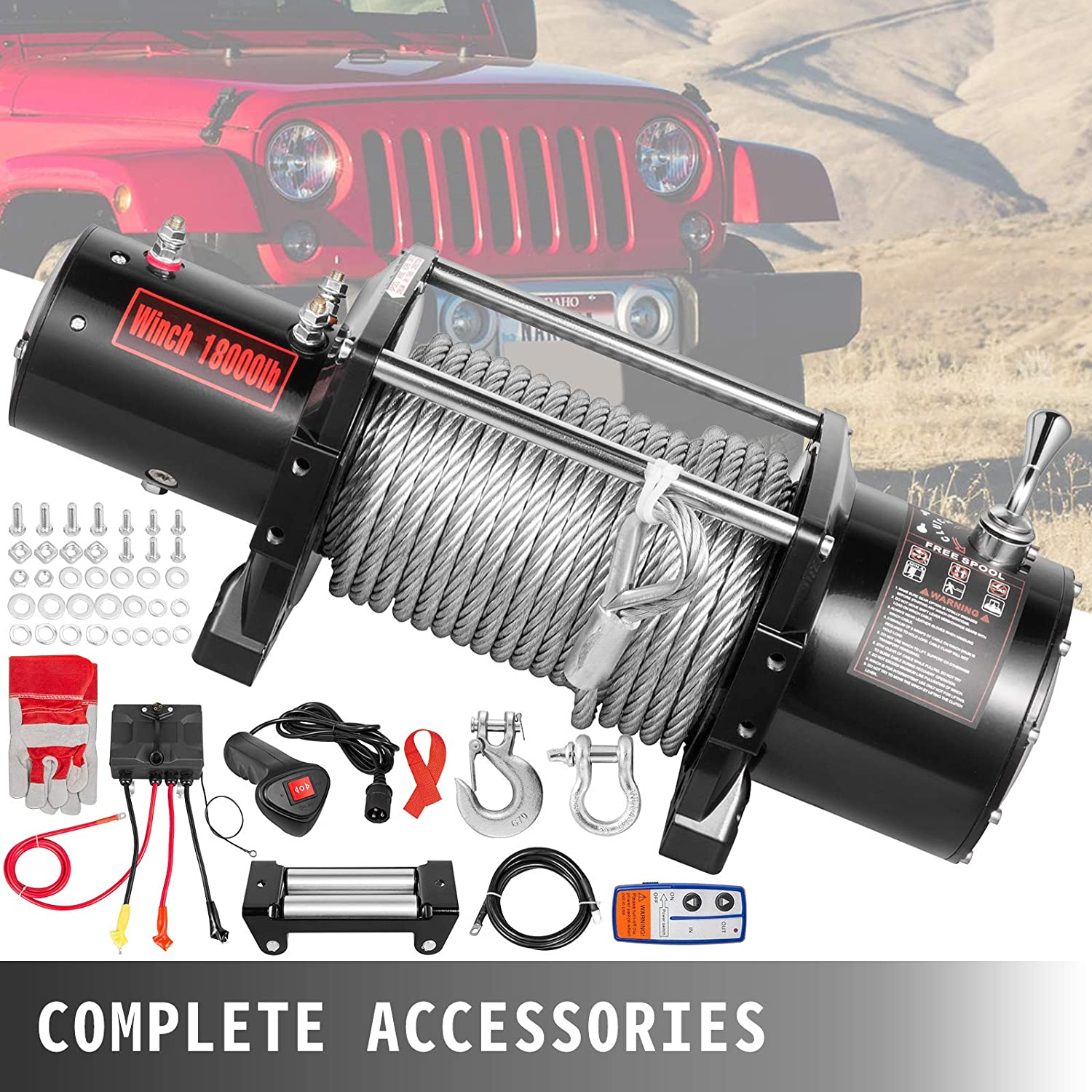 VEVOR Truck Winch 18000Ibs Electric Winch 75ft//22.8m Cable Steel 12V Power Winch Jeep Winch with Wireless Remote Control and Powerful Motor for UTV ATV /& Jeep Truck Wrangler Accessories in Car Lift