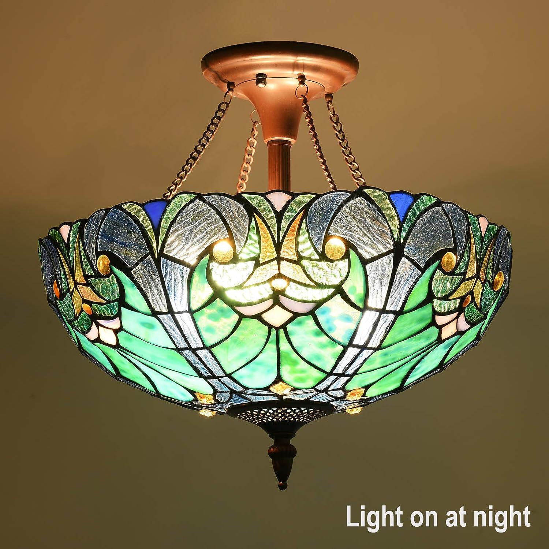 Cotoss Tiffany Style Ceiling Light Fixtures, 2-Light Semi Flush Tiffany Ceiling Lights, 16 Inch Wide Blue Stained Glass Ceiling Light, Tiffany Style Ceiling Flush Mount: Home Improvement