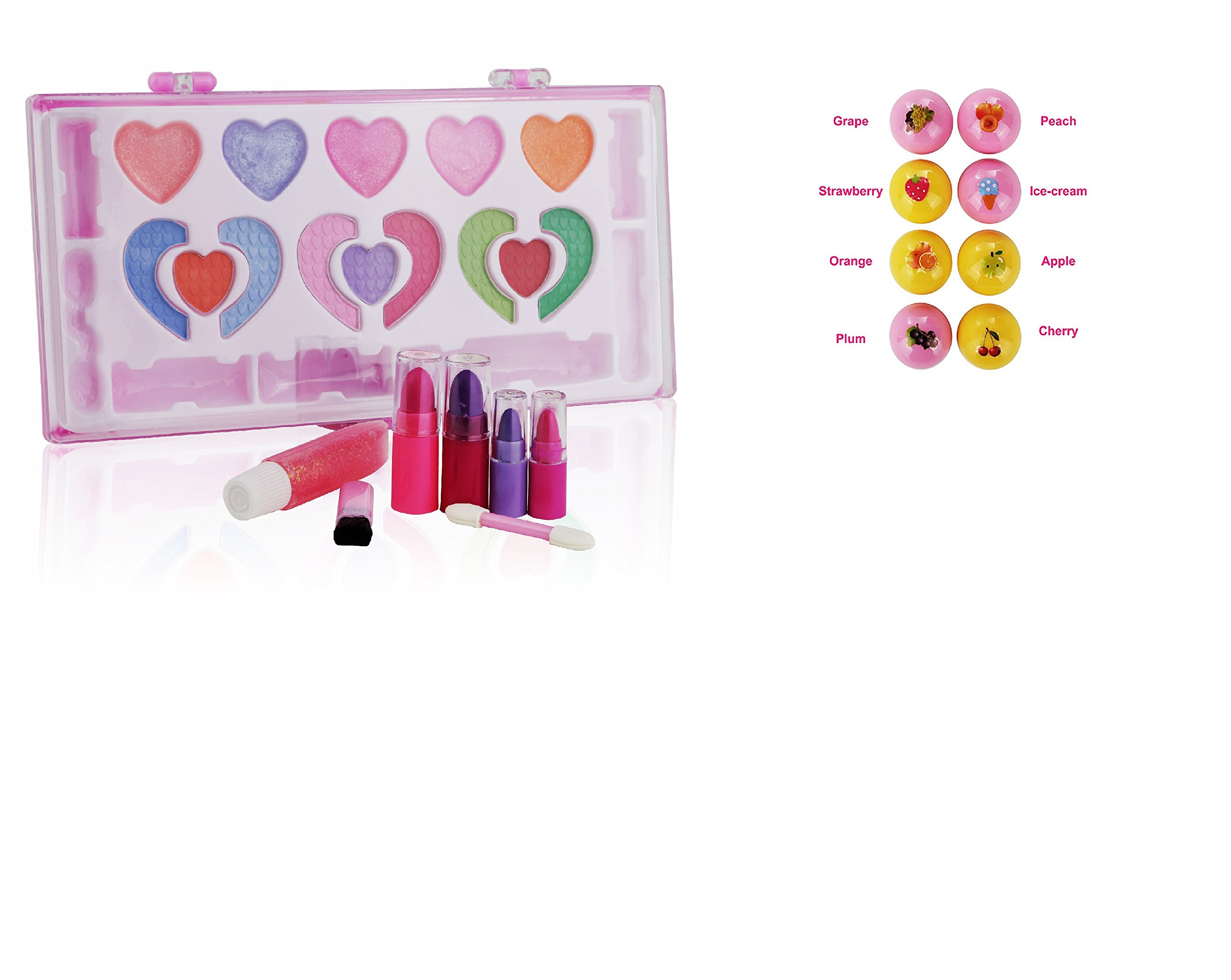 Pinkleaf Kids Makeup Kit for Girls - Toddler Toys - Safe & Non-Toxic Cosmetic Washable Makeup Set with Flavored Lip Balm, Gift Set, for Kids, Girls, Toddlers, Perfect for Any Occasion