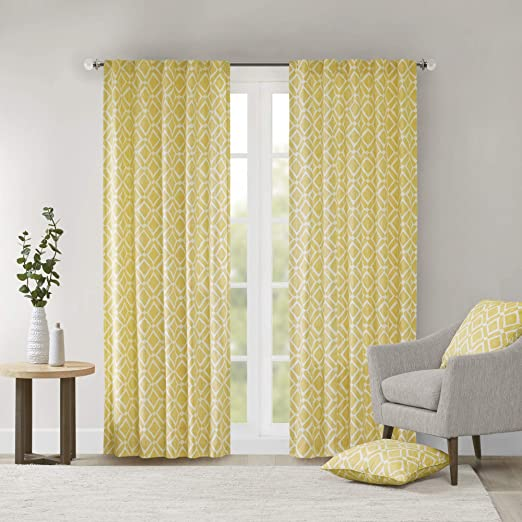 Yellow Curtains For Living Room Modern Contemporary Fabric Window Curtains For Bedroom Delray Diamond Print Rod Pocket Modern Window Curtains 42x84 1 Panel Pack Amazon Ca Home Kitchen