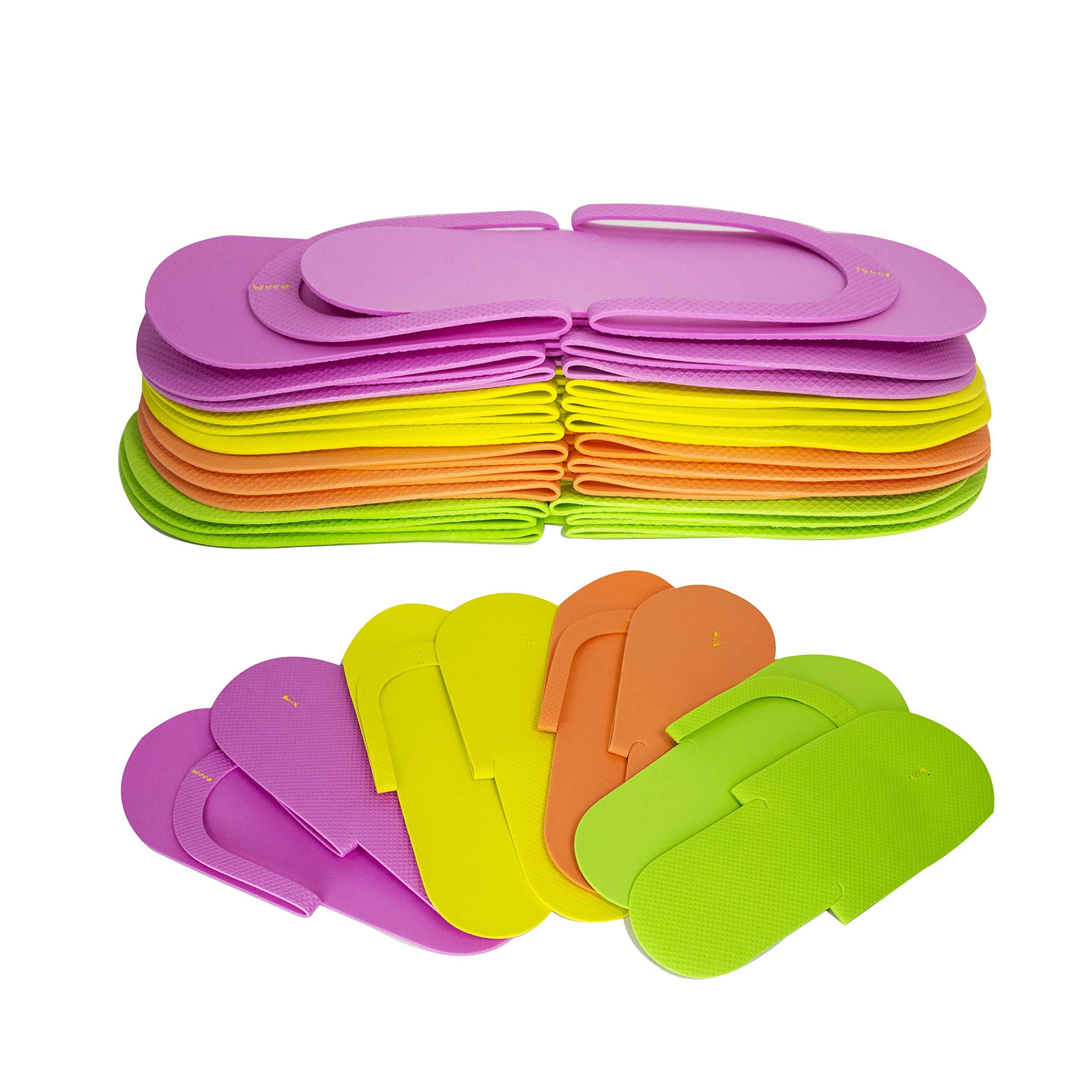 JOVANA 24 Pair Disposable Foam Pedicure Slippers Multi Color Flip Flop Salon Nail Spa