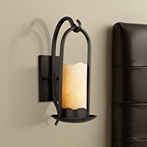 "Hanging Onyx Rustic Country Cottage Wall Light Sconce Hardwired 14 1/2"" High Fixture Faux Candle for Bedroom Bathroom Hallway - Franklin Iron Works"