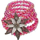 Alpenflüstern Perlen-Trachten-Armband Edelweiß Exklusiv - Damen-Trachtenschmuck, Elastische Trachten-Armkette, Perlenarmband in Traditionellen Farben DAB021