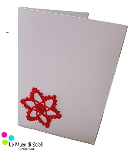 Weihnachtsgrüße karten pack von 5 A6 rote spitze star häkeln ...