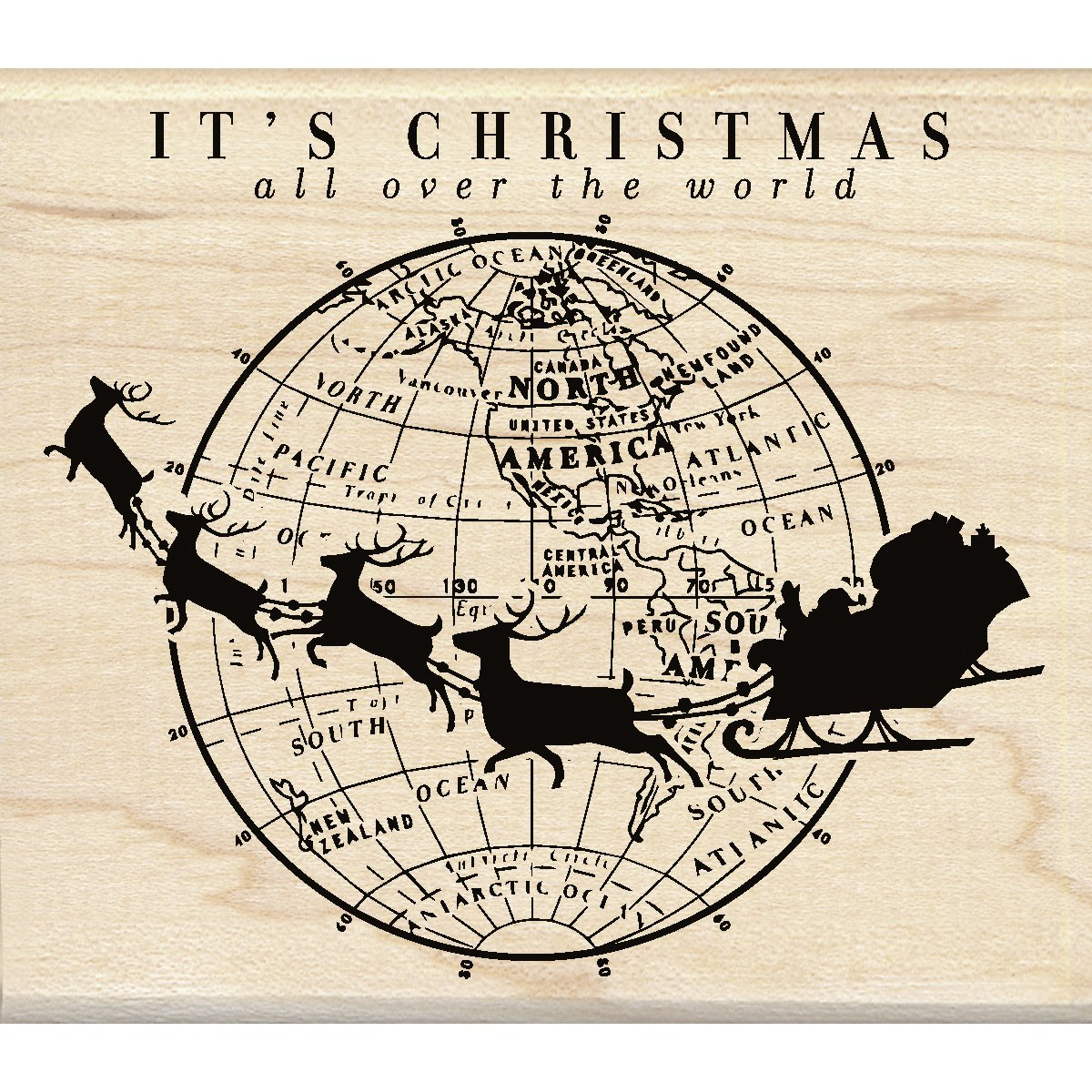 4 by 3.5 4 by 3.5 I6001137 Inkadinkado Its Christmas Mounted Rubber Stamp