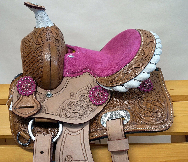Manaal Enterprises 子供用 プレミアム レザー バレル レーシング ウェスタン ポニー ミニチュア 馬 サドル タック サイズ 10インチと12インチ シート  10\