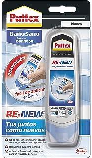 Pattex Baño Sano RE-NEW, silicona blanca para cocina y baño, silicona antimoho