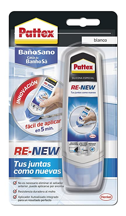 Pattex ReNew, silicona para renovar juntas antiguas, blanco, 100ml ...