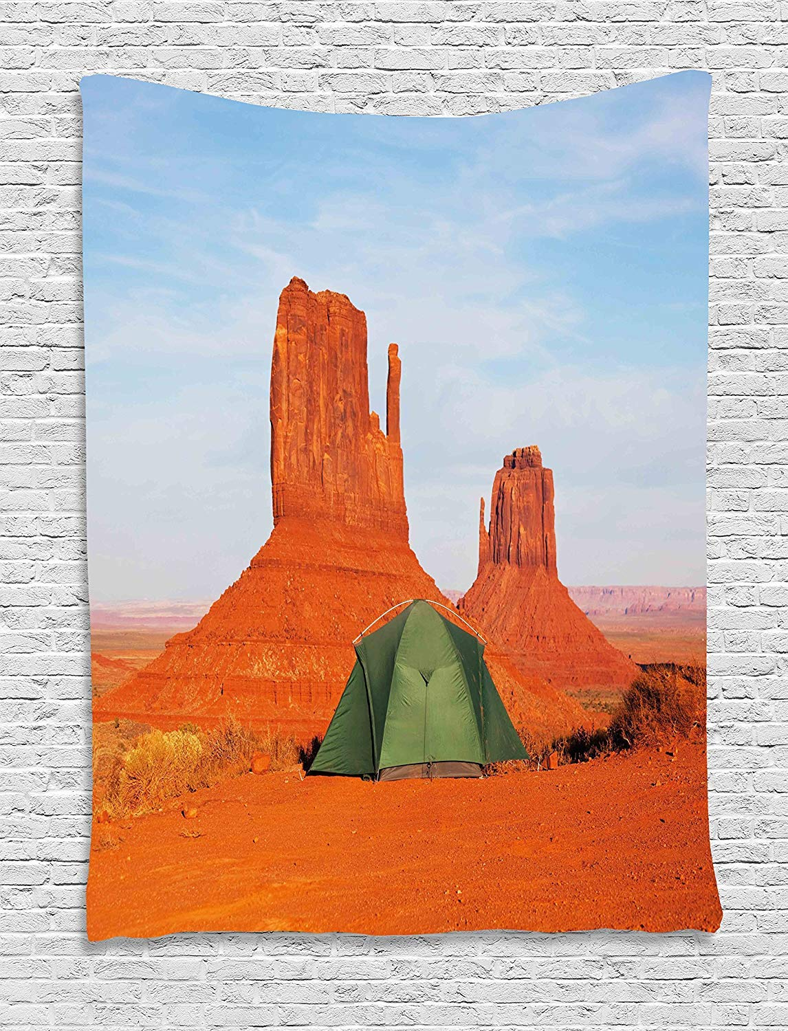 THndjsh Camper Tapestry, Monument Valley in Utah USA Natural Wonders of the World Heritage Landscape, Wall Hanging for Bedroom Living Room Dorm, 60WX80L Inches, Dark Orange Blue by THndjsh