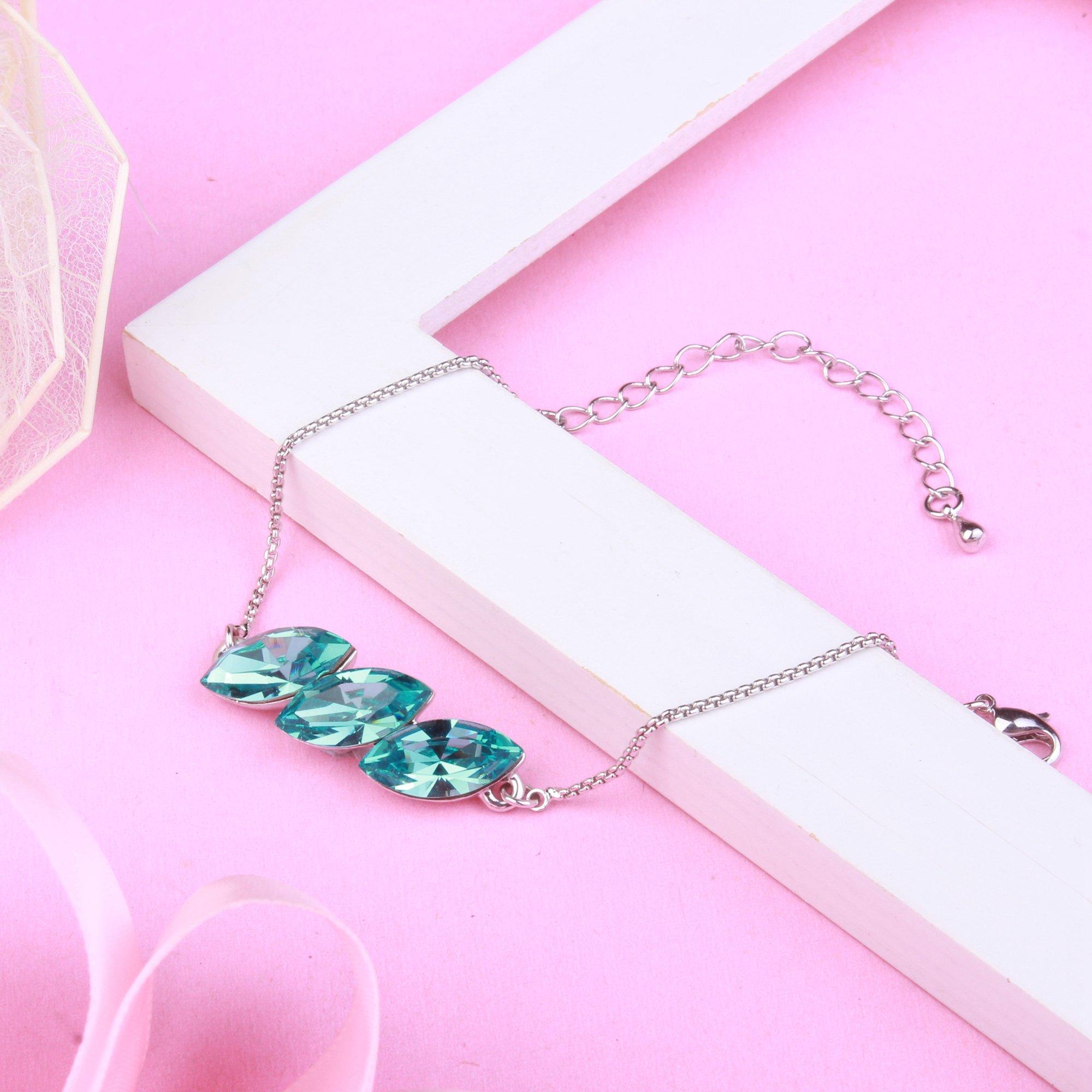 GEORGE · SMITH Wonderland Women Jewellery Turquoise Bracelet with Swarovski Crystal Wedding Birthday Gifts for her