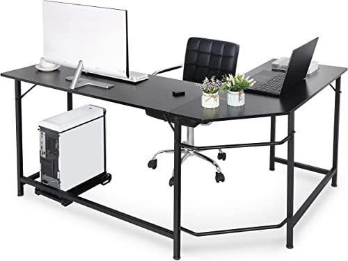 Super Deal L-Shape Corner Computer Desk with CPU Stand Storage Shelf PC Study Table Workstation Gaming Desk w Foot Rest Bar for Home Office