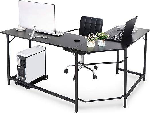 L-Shaped Desk Corner Computer Desk Workstation Home Office Desk CPU Stand